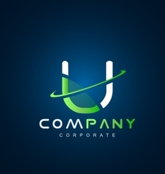 Alphabet letter u swoosh logo icon design vector