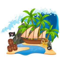 An isolated pirate island vector