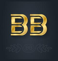 B and - initials or golden logo bb - metallic vector