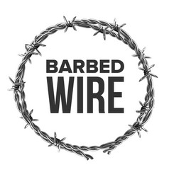 Barbed wire in circular shape for fence vector