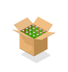 beer bottles cardboard box 3d vector image
