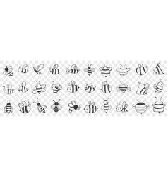 bees hand drawn doodle set vector image