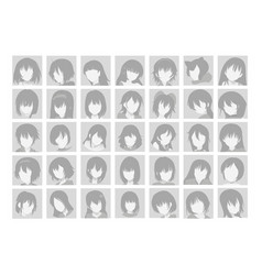 Big set anime faces with hair flat gray vector