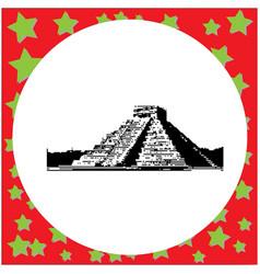 black 8-bit pyramid kukulkan in the mayan vector image