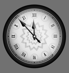 Black realistic vintage clock isolated vector