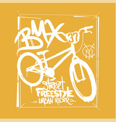 bmx t-shirt graphics extreme bike street style vector image