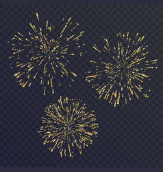 bright set of three elements fireworks on dark vector image