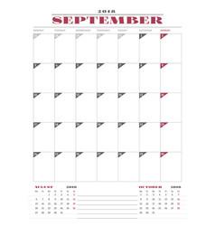 Calendar planner template for 2018 year september vector