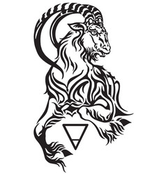 Capricorn earth sign tattoo vector