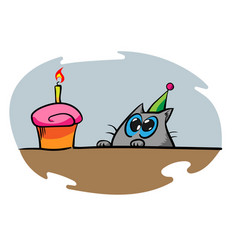 Cartoon cat staring at the birthday cupcake vector