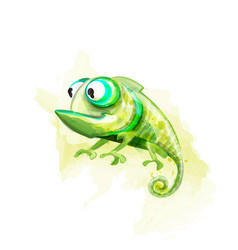 Chameleon funny cartoon character cute vector