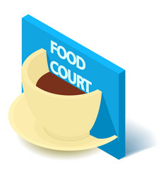 coffee sign icon isometric 3d style vector image