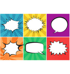 Colorful speech bubbles on striped backgrounds vector