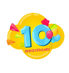cute cartoon template 10 years anniversary vector image
