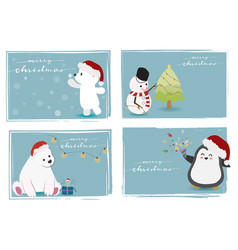 cute christmas animals and snowman with merry vector image