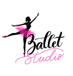 Dance studio logo with young ballerina vector