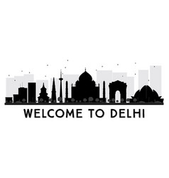 Delhi city skyline black and white silhouette vector