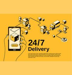 delivery service 24 7 halftone vector image