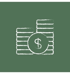 Dollar coins icon drawn in chalk vector