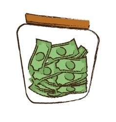 drawing money saving money glass vector image