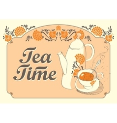 Drinking tea time vector