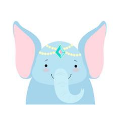 Elephant funny face with pearl headgear cute vector