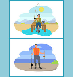 Fisherman fishing from platform and from bank vector