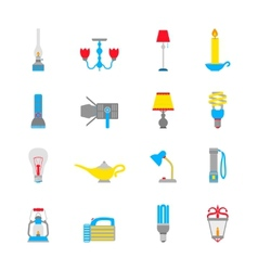 Flashlight and Lamps Icons vector image