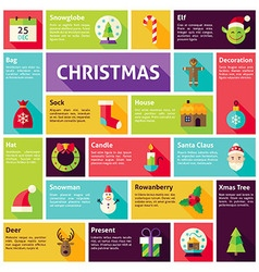 Flat Design Icons Infographic Merry Christmas vector image