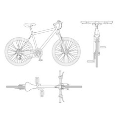 flat outline cycling side view back and top view vector image