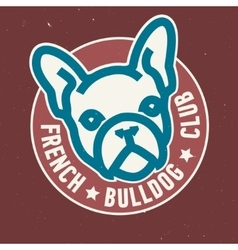 French Bulldog Club Circle Emblem Design vector