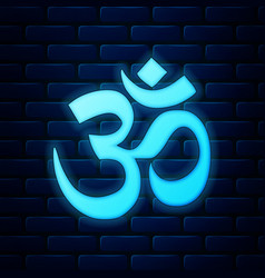 Glowing neon om or aum indian sacred sound icon on vector