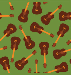 guitars on green seamless pattern tile vector image