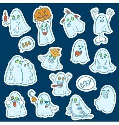 Halloween set of stickers ghosts vector