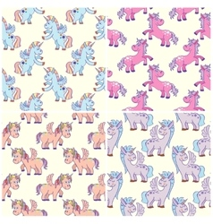 hand drawn unicorns seamless patterns set vector image