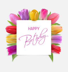 Happy birthday card with red tulips vector