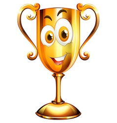 Happy face on trophy vector