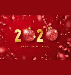 happy new year 2020 background with shining vector image