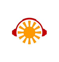 headphone sun logo icon design vector image