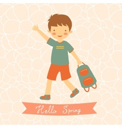 Hello spring card with cute little boy vector image