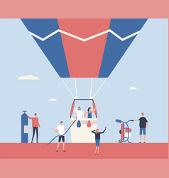 Hot air balloon trip - flat design style vector
