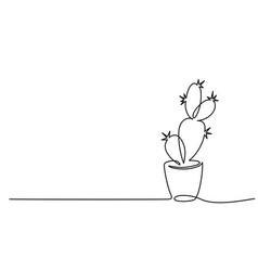 House cactus in pot continuous one line drawing vector