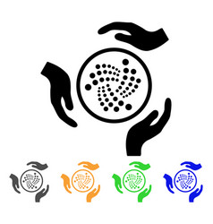 Iota care hands icon vector