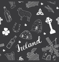 Ireland sketch doodles seamless pattern irish vector
