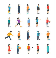 Isometric people flat icons vector