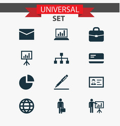 job icons set with contract signing whiteboard vector image