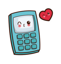 Kawaii calculator wink image vector