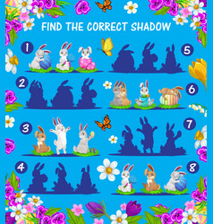 kids game match shadows easter bunnies eggs vector image