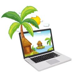 laptop display tropical islands vector image