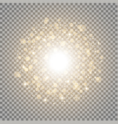 light circle with dots and sparks golden color vector image